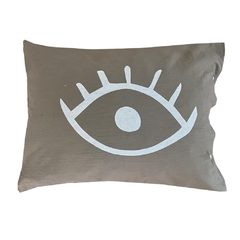 Fundas de Almohada Gris Eyes Blanco - OUTLET