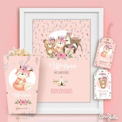 Kit Animalitos del Bosque Tribal Nena. Imprimible Personalizable - CocoJolie Kits Imprimibles