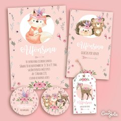 Kit Animalitos del Bosque Tribal Nena. Imprimible Personalizable