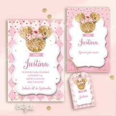 Kit Imprimible Minnie Rosa y Gold Dorado en internet