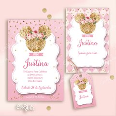 Kit Imprimible Minnie Rosa y Gold Dorado