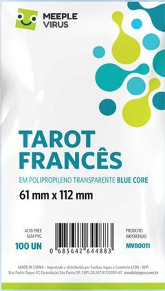 Sleeve Blue Core Tarot Francês 61 x 112 mm - 100 unidades