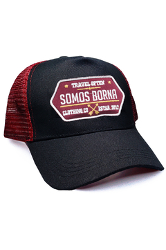 GORRA TRUCKER VINTAGE - TRAVEL OFTEN - NEGRO + BORDO