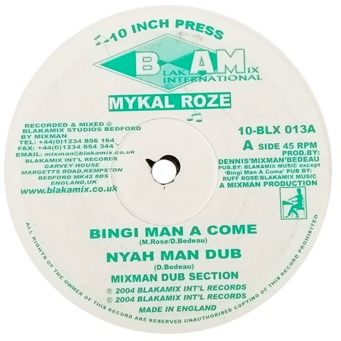 "10"" Mykal Rose/Martini Special - Binghi Man A Come/Baby Mother, Baby Father [VG]"