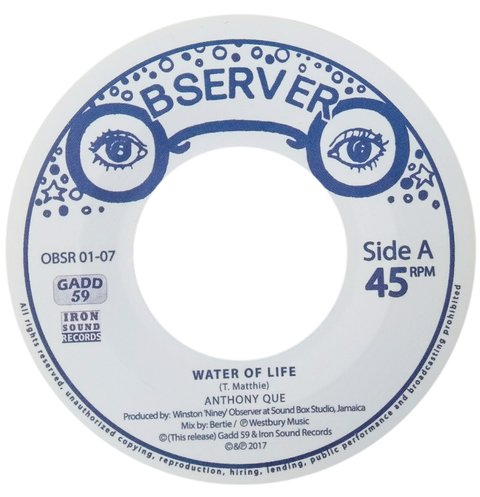 "7"" Anthony Que - Water of Life/Water Dub [M]"