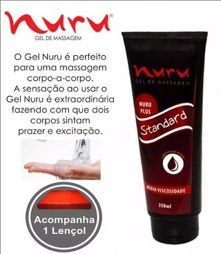 Lubrificante Sexual Gel Nuru Massagem 250ml (Kit Gel + Lençol)