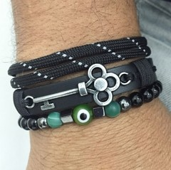 Kit 3 Pulseiras Masculinas Couro Olho Grego Onix Chave Key