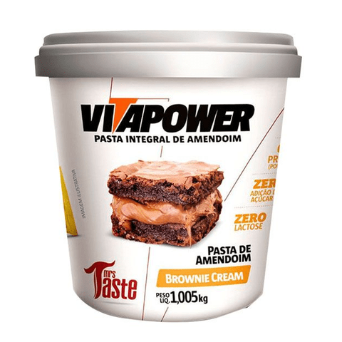 VITAPOWER PASTA DE AMENDOIM BROWNIE CREAM 1,005KG - MRS TASTE