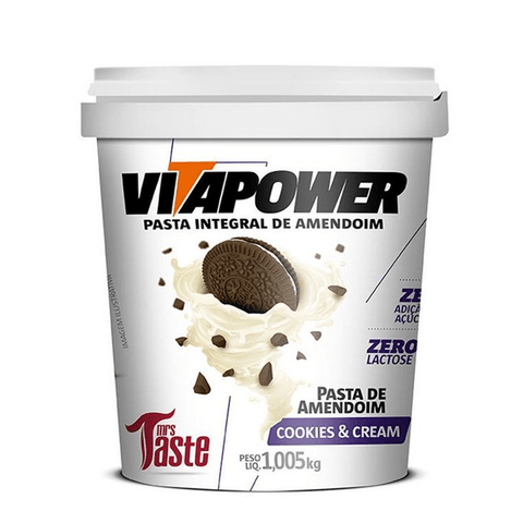 VITAPOWER PASTA DE AMENDOIM COOKIES & CREAM 1,005KG - MRS TASTE