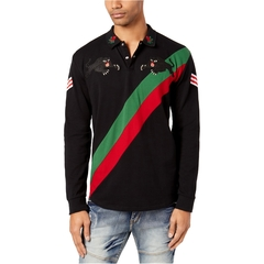 Reason Mens Panther Embroidered Rugby Polo Shirt