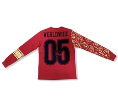YRN Red Gold 91 World Star Hip Hop Worldwide L/S Tee T-Shirt Mens - LoDeJim