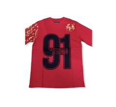 YRN Red Gold 91 World Star Hip Hop Worldwide L/S Tee T-Shirt Mens