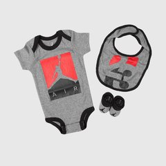 JORDAN INFANT JUMPMAN AIR 3 PC SET (GREY | BLACK | RED)