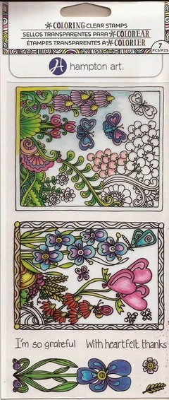 "Coloring Clear Stamps By Hampton Art. ""Daisys And Butterflys"""