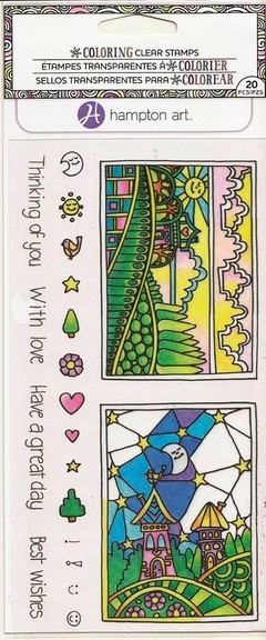 "Coloring Clear Stamps By Hampton Art. ""Day and Night"" - Laura Bagnola Crafts"