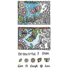 "Coloring Clear Stamps By Hampton Art. ""Daisys And Butterflys"" - comprar online"