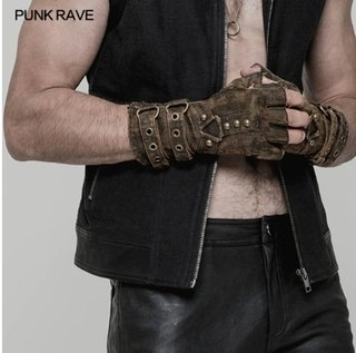 Punk Rave* 4949 Luva Masculina Canvas Lona Militar Gotic Rock Cross