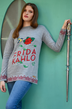 "Sweater Grey ""Frida Flowers"""
