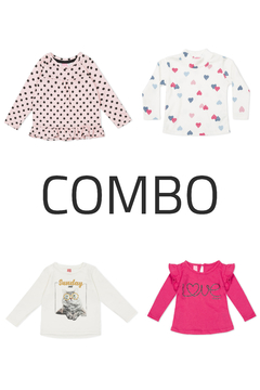 4 Remeras - Kids Girls (Combo 77)