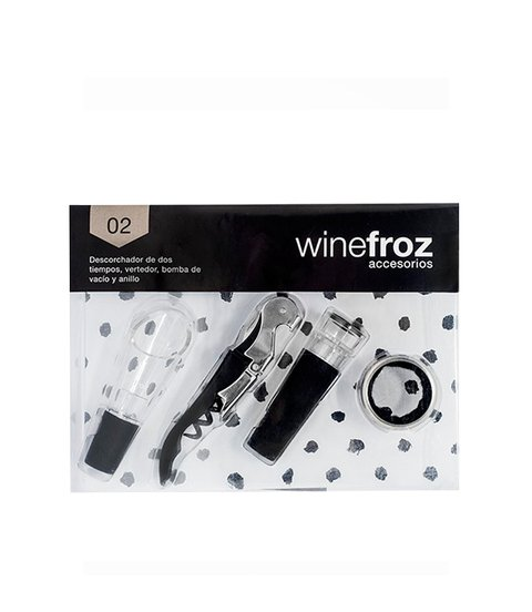 SET 02 WINEFROZ DESCORCH,ANILLO, TAPON ,VERTEDOR