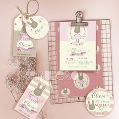 Kit imprimible Conejita Sweet Rabbit bunny dulce conejita animalitos del bosque rosa