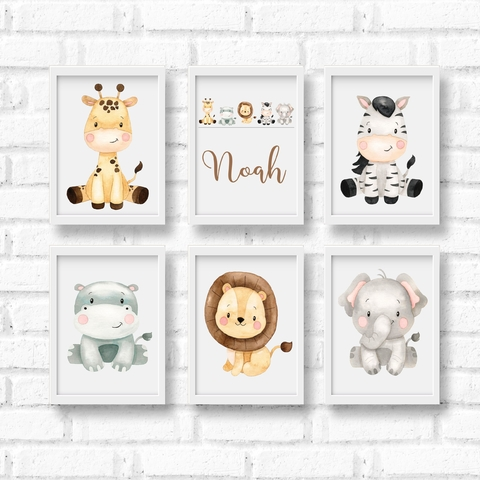 Quadro Decorativo Infantil Safari Baby Aquarela - Kit com 6 unidades