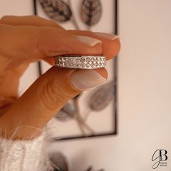 AN 068 - Anillo doble strass (ACERO QUIRURGICO)