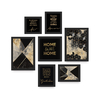 Kit 7 Quadros Decorativos Home Sweet Home Preto