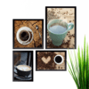 Conjunto Kit 4 Quadros Love Café