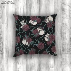 Skulls & Red Roses Cushion Cover