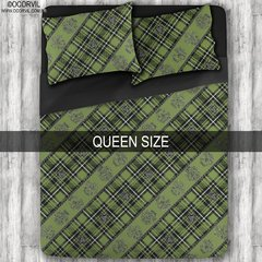 Celtic Skulls on Green Plaid Sheet Set, Queen
