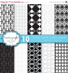 PG - Damask Black & White Papers