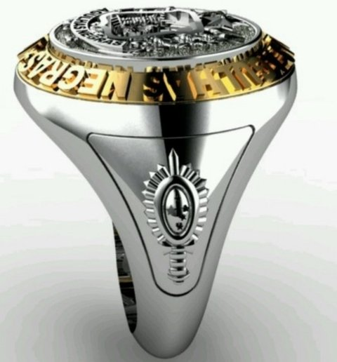 Classic ring of the military academy of the black needles (aman) in sterling silver (950) gold (750) 18k