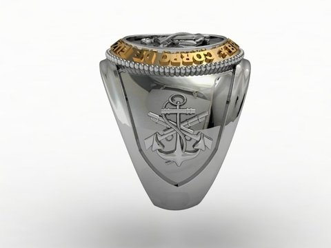 Ring of the Corps of Marines in Silver and Gold