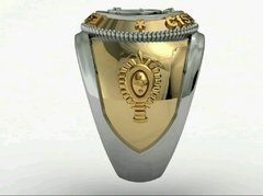 Music Ring of the School of Logistics sergeants in gold with silver -  Ginglass personalização de joias