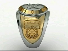 Belico Material Ring of logistics Sergeants School in silver with 18k gold on internet