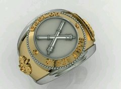 Belico Material Ring of logistics Sergeants School in silver with 18k gold -  Ginglass personalização de joias
