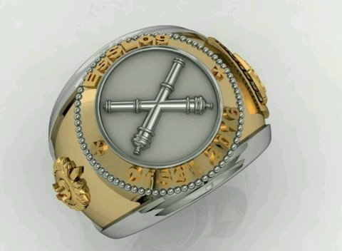 Belico Material Ring of logistics Sergeants School in silver with 18k gold