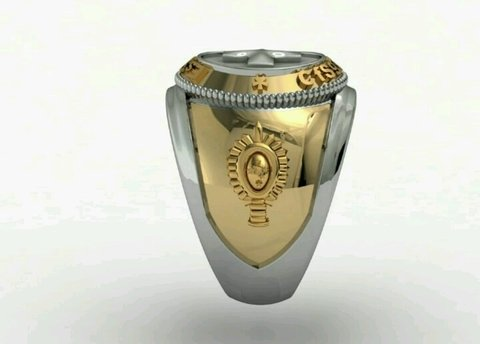 Health Ring of the School of Logistics sergeants in Ouro18k with silver