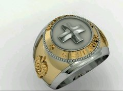 Health Ring of the School of Logistics sergeants in Ouro18k with silver - online store