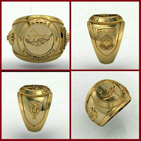 Ring Intendence of the School of Logistics sergeants in 18k gold