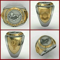 Intendence Ring of the School of Logistics sergeants in silver with 18k gold