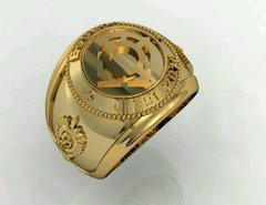 Ring Communications of the School of Logistics sergeants in 18k gold - online store
