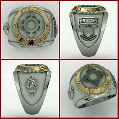 Ring communications from the School of Logistics sergeants in silver with 18k gold