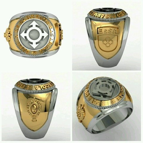 Communications Ring of the School of Arms sergeants in 18k gold with sterling silver