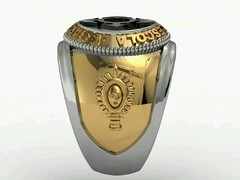 Communications Ring of the School of Arms sergeants in 18k gold with sterling silver on internet