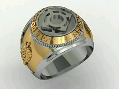 Communications Ring of the School of Arms sergeants in 18k gold with sterling silver -  Ginglass personalização de joias