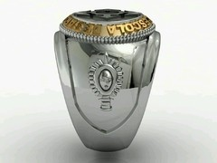 Communication Ring of the School of Weapons sergeants in silver with Ouro18k -  Ginglass personalização de joias