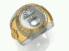 Artillery ring of the School of arms sergeants in 18k yellow gold with silver - online store