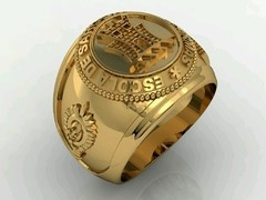 Communication Ring of the School of Weapons sergeants in silver with Ouro18k - online store